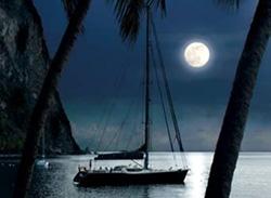 Charter boat ZULU enjoys a quiet night off the Spanish coast.