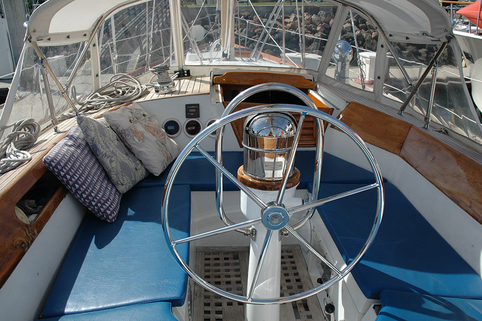 The cockpit in the Cheoy Lee 44 has plenty of room and also is the perfect width for bracing your feet when heeling.