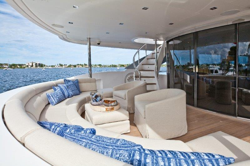 The owners of Andrea IV¬–the first Horizon RP110–didn't want the aft-deck dining area that is aboard pretty much every megayacht on the water. They prefer eating elsewhere onboard, but they still wanted the ability to gather as a family out here. The vibe they wanted was akin to that of a luxury hotel.