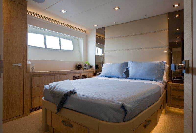 The owners requested a four-stateroom configuration, though a five-room arrangement (an on-deck master and four guest cabins below) is also possible. This double stateroom aboard Andrea IV is across the hall from a twin stateroom. The latter is ideal for the owners' grandchildren. Regardless of which cabin you're in, the look is crisp and clean.