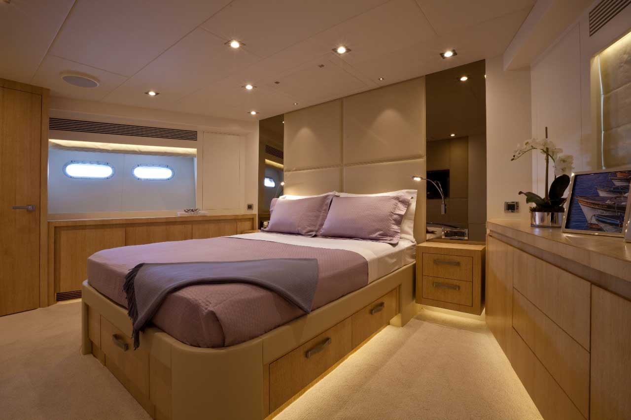 Family members who want a little more privacy can enjoy staying in Andrea IV's VIP stateroom. It has its own stairway leading down from the galley and dining area. The same white oak wood seen in the master stateroom appears here as well, and in all of the yacht's relaxation spaces.
