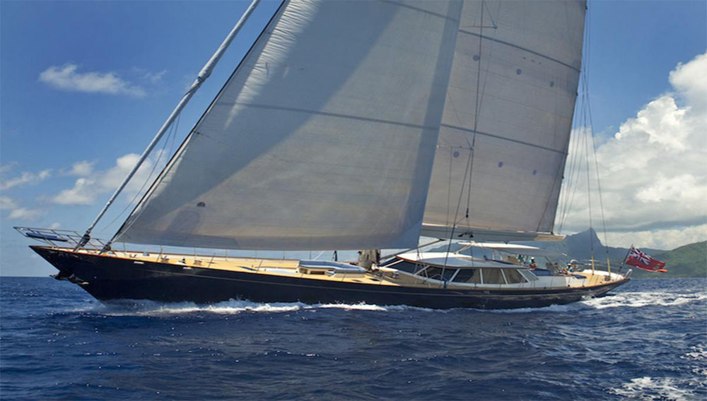 One of the largest sailing yachts at the show was this aluminium 41m Dubois designed sloop built by Fitzroy Yachts in 2008, but newly refitted in 2013/14 and priced at a cool €7.5 million (about $9.1 million, in US dollars).