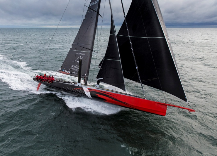 "One of Hodgdon Yacht's latest creations, Commanche. Remarkably, the 100' supermaxi has a 25'6"" beam and a 150' tall mast."