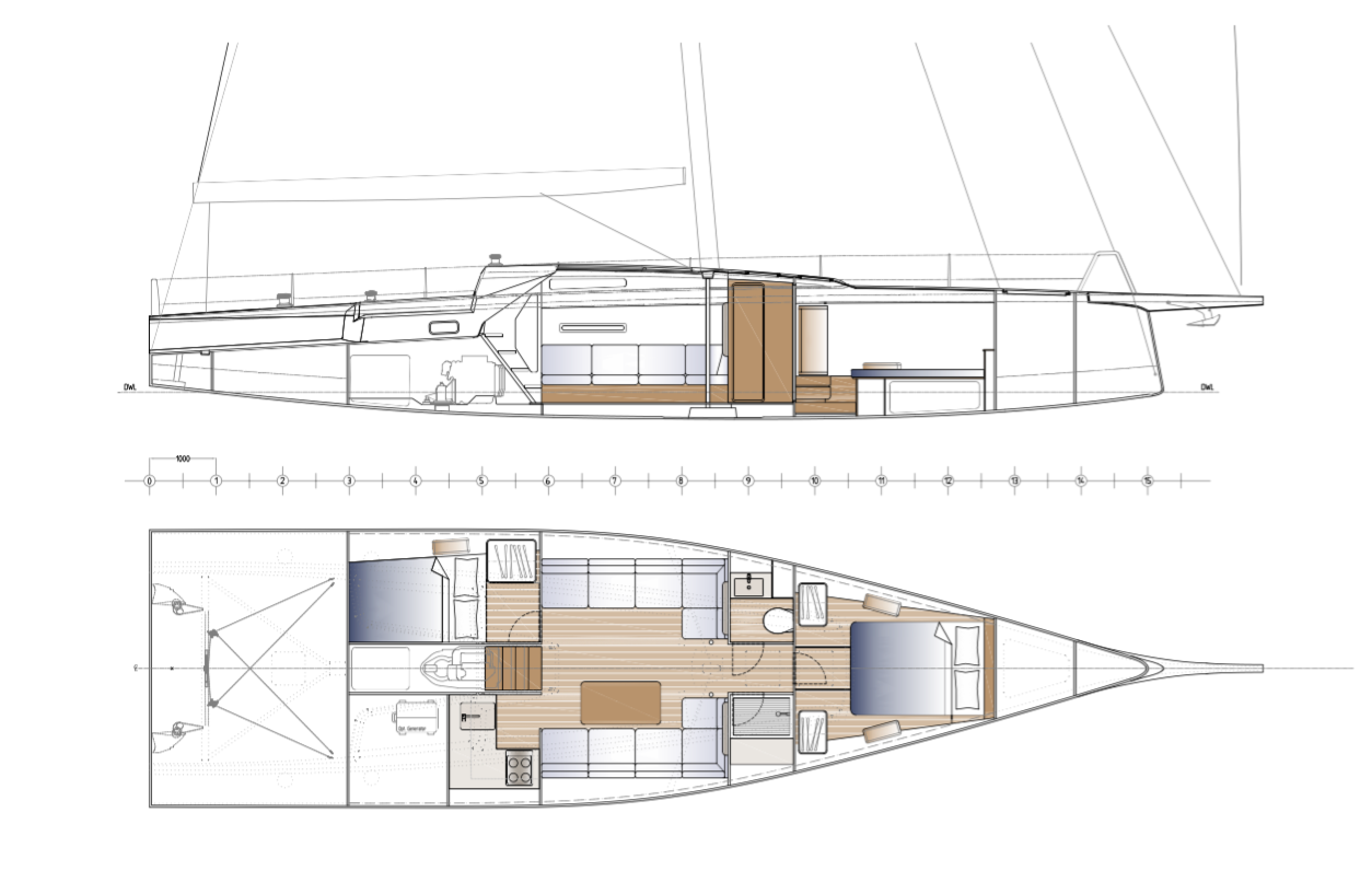 The layout shows the unused areas at the bow and stern, but for a small crew, there is plenty of space for cruising accommodation.