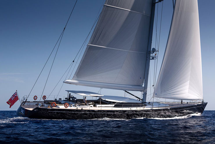 """Since Yin is an experienced offshore sailor, Sea Eagle is performance-oriented and will compete in regattas, maybe inspiring a future sailor in training. She's already registered for next year's St. Barths Bucket, in fact. When just Yin and his family are aboard, the aft awning-covered """"tea deck"""" will get good use. Photo by Carlo Baronicini."""