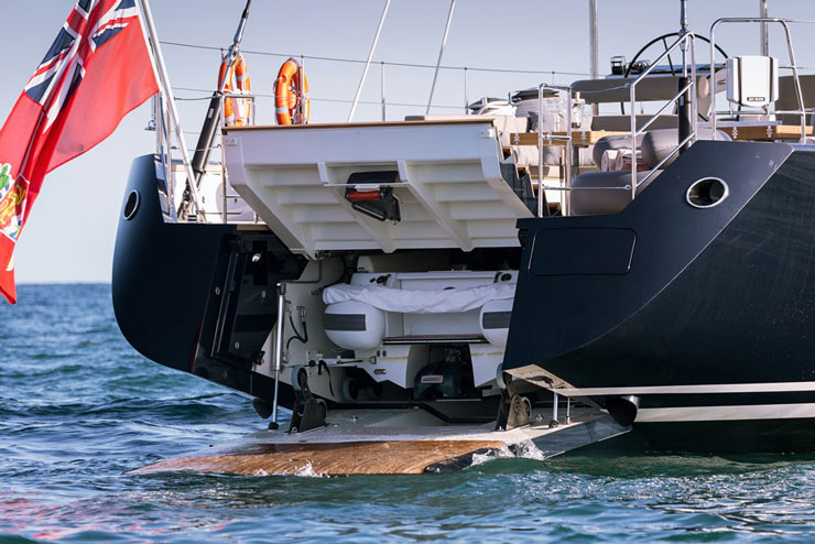 Speaking of the tender, Sea Eagle totes a 17-foot Castoldi jet boat. While many sailing yachts keep their tenders in foredeck hatches, this one stows behind the stairs. The swim platform serves as a hydraulic launching ramp. Photo by Carlo Baronicini.