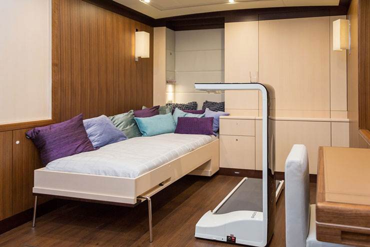 This convertible cabin, situated forward below decks by Sea Eagle's crew area, can serve one of two purposes. It can be either an extra-private stateroom VIP, or a gym. Photo by Carlo Baronicini.