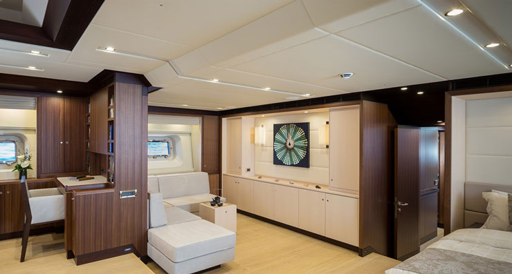 Master suites have the ultimate privacy, of course, and the one aboard Sea Eagle follows suit. It has its own entry to and from the beach deck, plus a tea/TV area. Photo by Carlo Baronicini.