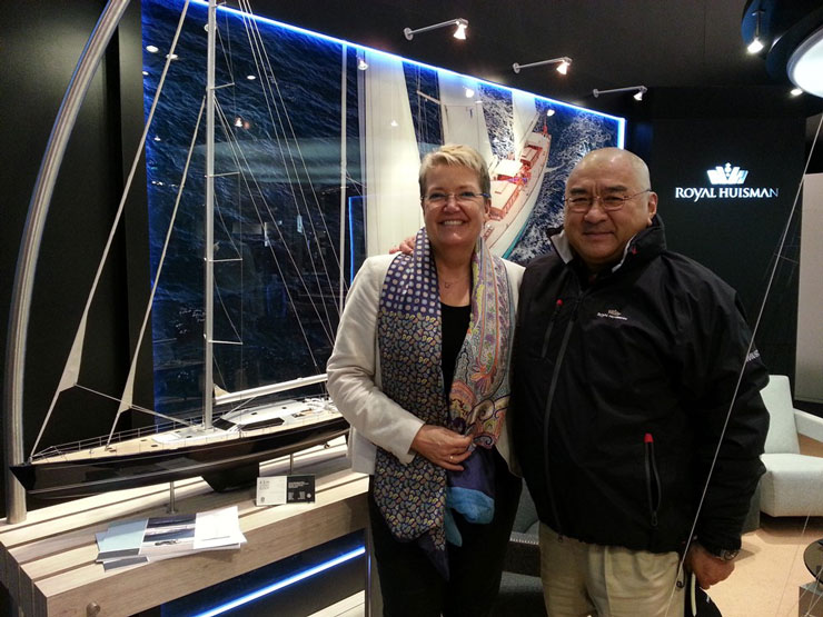 Yin (at right, with Royal Huisman's managing director Alice Huisman) often visited the shipyard during construction. His background in civil engineering, among other things, helps explains why he took great interest in various construction aspects. Photo by Carlo Baronicini.