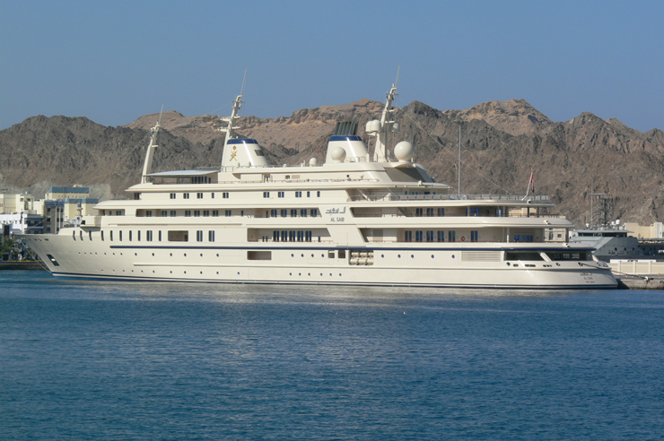 The 508-foot Al Said spends her time primarily in Middle Eastern waters. Little is known, other than that she can accommodate 70 guests. She also belongs to the Sultan of Oman, who also owns Fulk Al Salamah. Seventy guests can stay aboard. Photo by Wil Weijsters.
