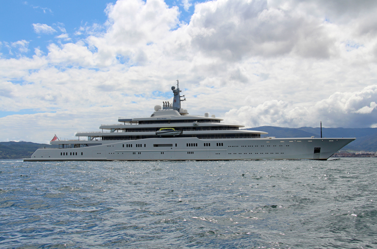 When Eclipse departed Blohm and Voss in 2010, she held the title as the world's biggest yacht. It's hard to fathom how a 533-footer can somehow be considered too small to retain the title. No matter, though; her owner, Russian billionaire Roman Abramovich, still has 72 feet of beam to enjoy. Photo by Giovanni Romero/TheYachtPhoto.com.