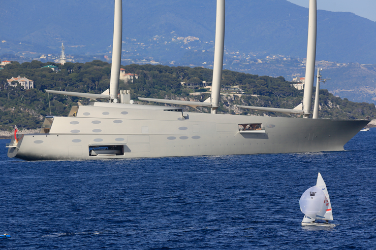 It's hard to miss this 468-footer, styled by Philippe Starck. She's eight decks high. Her main mast is more than 328 feet tall and each mast weighs 50 tons. Photo by Peter Seyfferth/TheYachtPhoto.com.