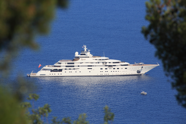Typical of the world's largest yachts, Topaz, measuring 484 feet, is pretty private. However, rumors circulated a few years ago that actor Leonardo di Caprio was permitted to charter her in Brazil for the World Cup. Photo by Peter Seyfferth/TheYachtPhoto.com.