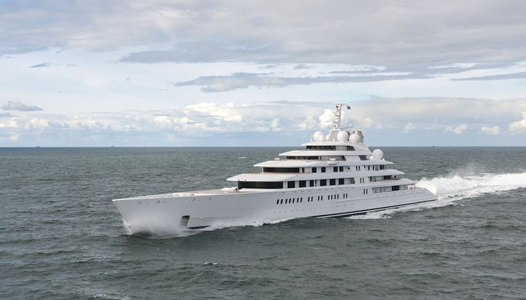 Coming in at nearly 593 feet, Azzam is even more impressive when you consider she can hit 30 knots. A combined 23,500 HP stemming from diesels and gas turbines makes it possible. Lürssen constructed her in just three years' time, too. To learn more read Azzam: Largest Yacht in the World.