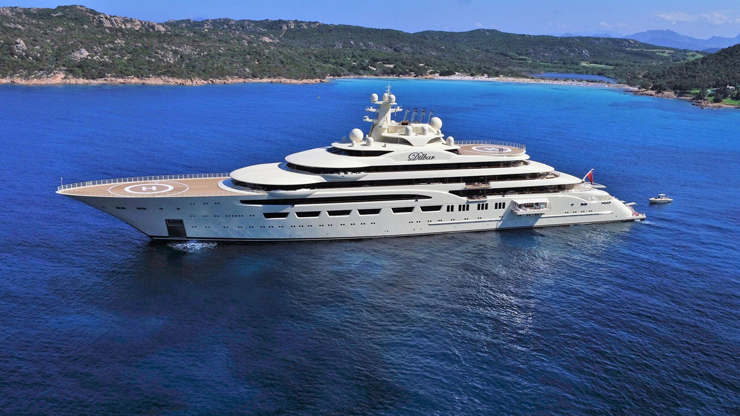 At 512 feet, Dilbar replaced a 361-footer of the same name in 2016. While superyachts this big are typically highly confidential, a few fun facts are available. For one, Lürssen faired and painted 107,639 square feet of exterior surfaces. Better yet, Dilbar has a pool with 6,357 cubic feet (180 cubic meters) of water. It's indoors, too. Photo by Kyle Conlin.