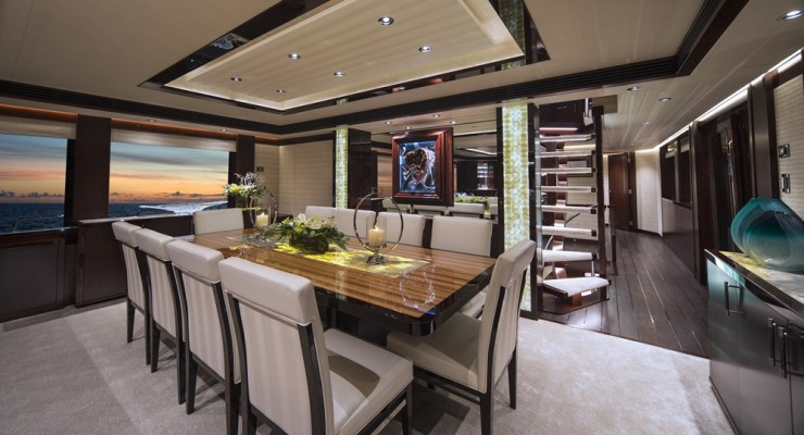 The owner of the first Westport 125, christened Black Gold, requested an open floorplan for the main deck. The floating stairs to the pilothouse preserve the sense of space.
