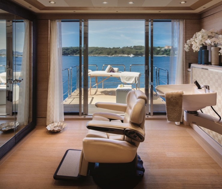 To ensure relaxation, it doesn't get much better than this. Cloud 9 not only has a spa onboard, she even has her own signature body and hair treatments. Furthermore, the fold-down platform makes massages all the more indulgent.