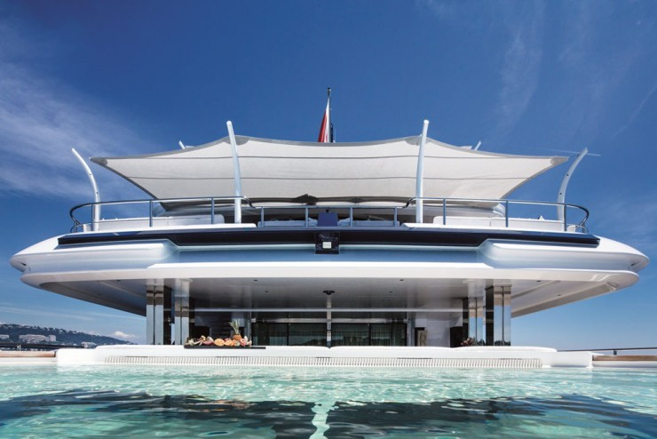To swim in the sea, or swim onboard? Why choose? The yacht has a pool on the aft main deck. Running athwartships, it extends about 39 feet wide, plus has a glass bottom.