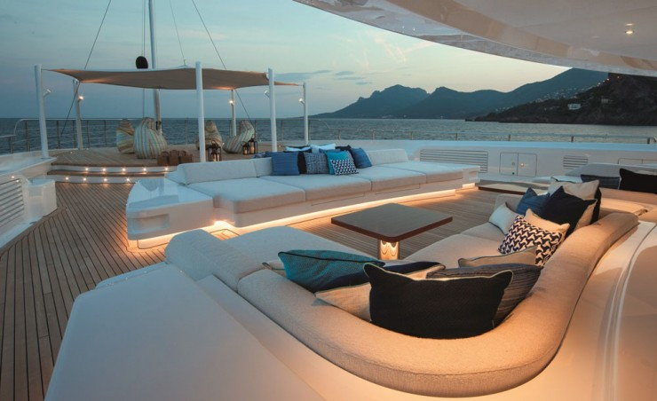 A favorite activity for many an owner and guest is sitting on deck and watching the sun go down. While the bow area here is a helipad, the owners don't plan to use it. Instead, it's an extra seating area (tented upon request) for conversation or, a favorite of the owners, karaoke.
