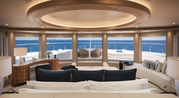 Wake up. Take in the view. Walk forward outside to enjoy coffee at a private seating area. Repeat. With a master stateroom like this, part of a 4,300-square-foot owners' deck, you, too, would be hard pressed to leave your yacht after delivery.