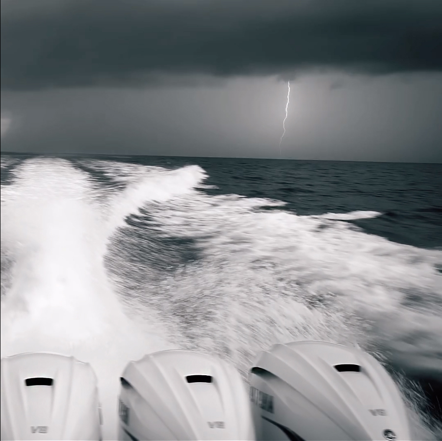 Lightning Strike On The Water On A Boat