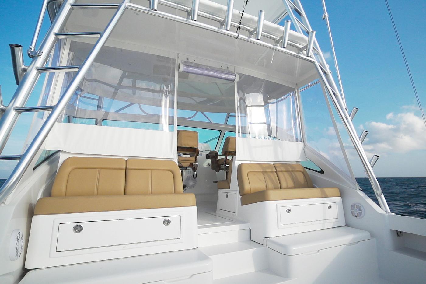 Mezzanine seating on the new Albemarle 41 Express Custom Carolina Edition fishing boat
