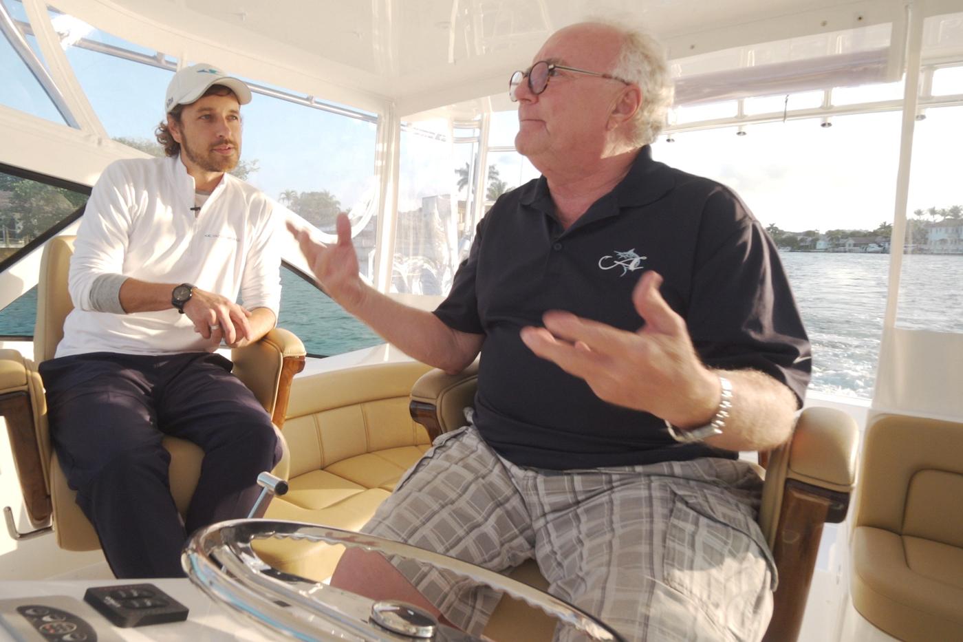 Ryan McVinney and Chuck Sealy at the helm of an Albemarle 41 Express Custom Carolina Edition Fiashing Boat