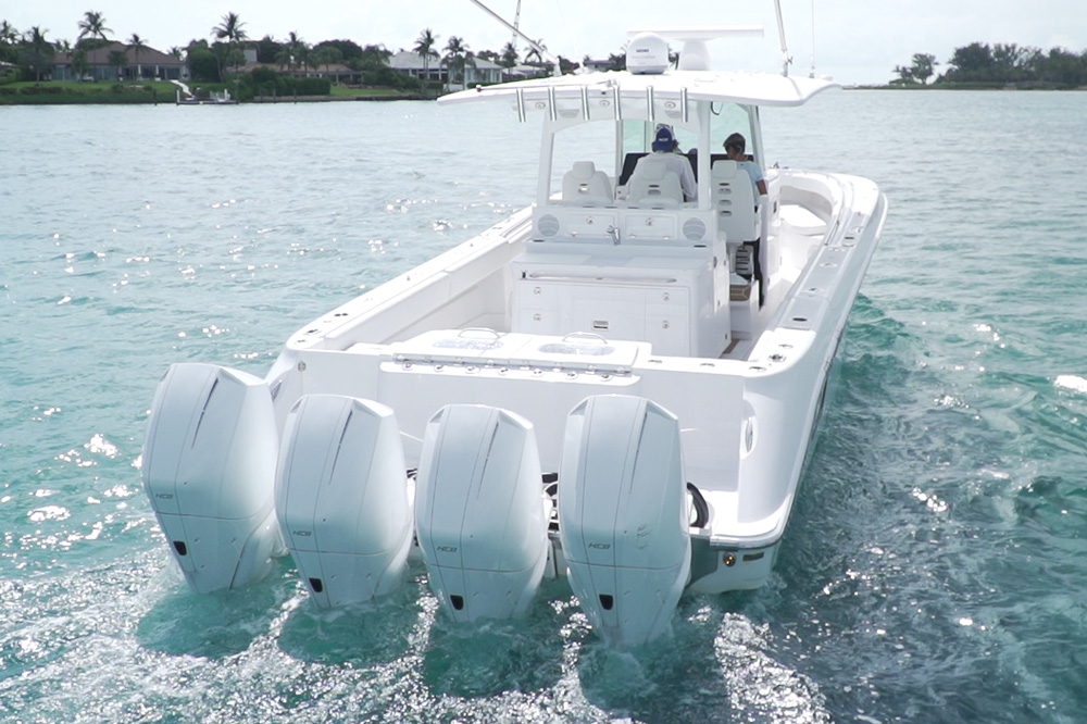 HCB 42 Siesta Center Console with Quad Mercury 450R Racing Outboards. Photo: YachtWorld.
