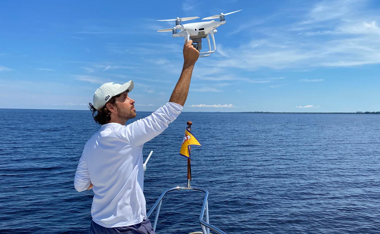 Ryan McVinney catches a Phantom 4 Pro drone onboard a yacht film shoot.