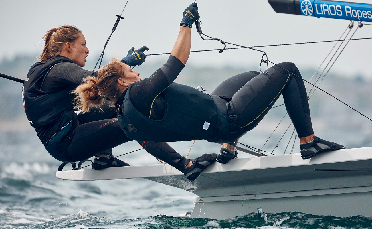 Female Sailors Competing in A Race on a Sailing Yacht
