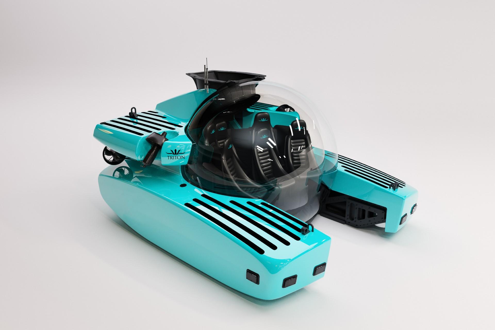 Triton's-3300/-submarine-with an-iconic-tiffany-blue exterior