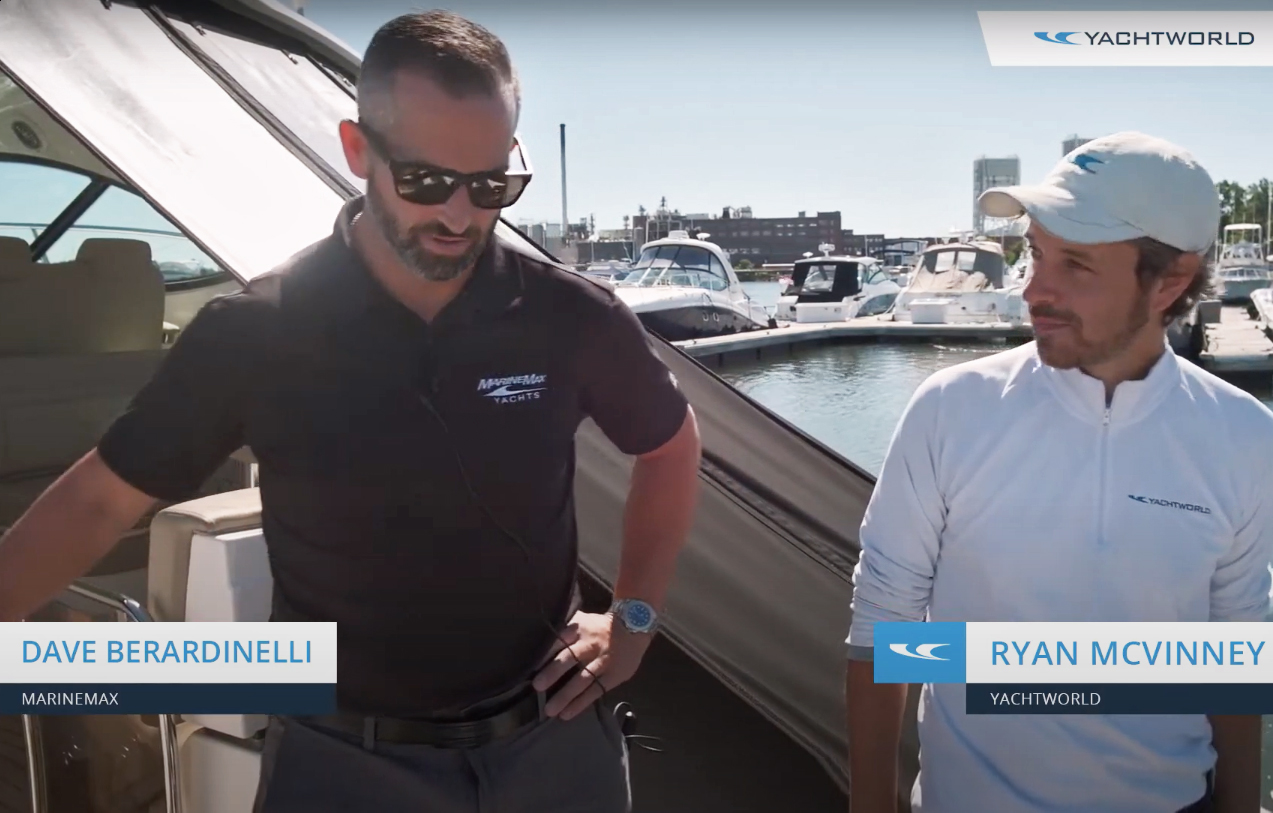 Ryan McVinney and Dave Berardinelli on a Sea Ray 410 Sundancer at MarineMax Boston. Photo: YachtWorld.