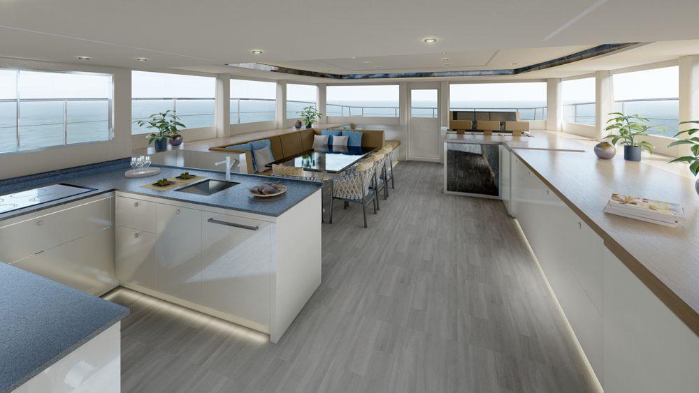 SILENT 62 catamaran Deck salon