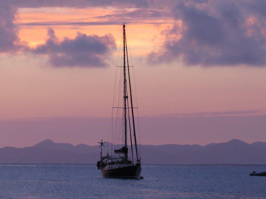 St Barts sail sunset