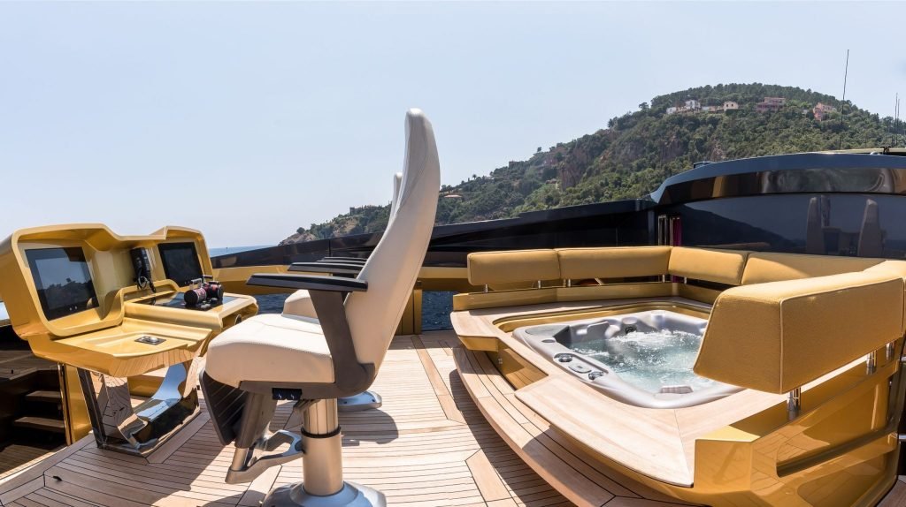 A special highlight is the master suite features skylights and private use of the jacuzzi on the sky bridge. Image credit: SuperYachtsMonaco.