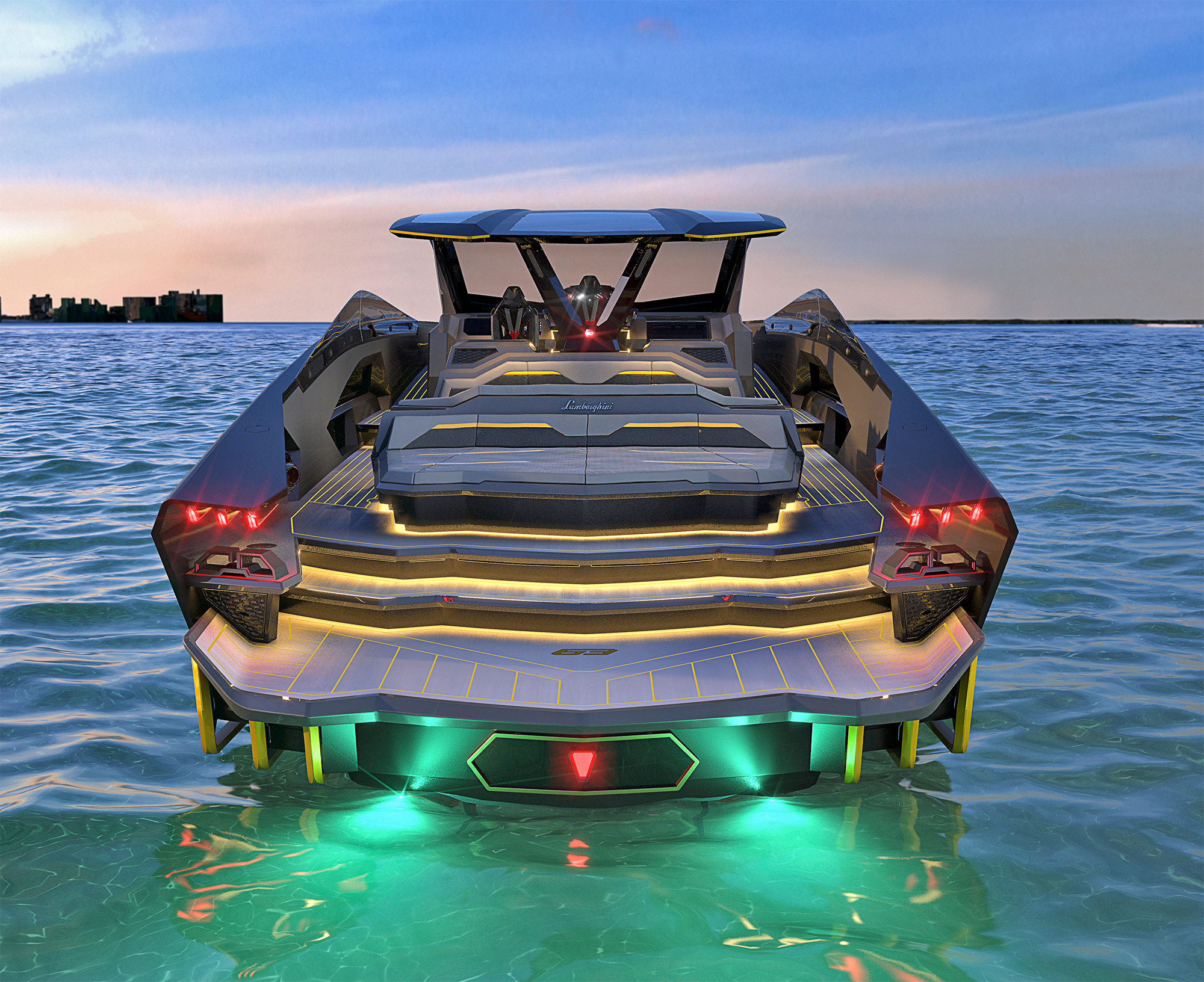 Aft Deck on a Tecnomar Lamborghini 63 Yacht